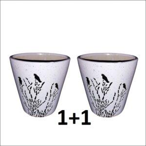 Yoidentity Bird Printed Ceramic Pot White